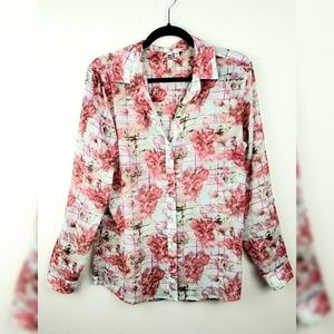 Kut From The Kloth Roll Tab Sheer Floral Blouse M